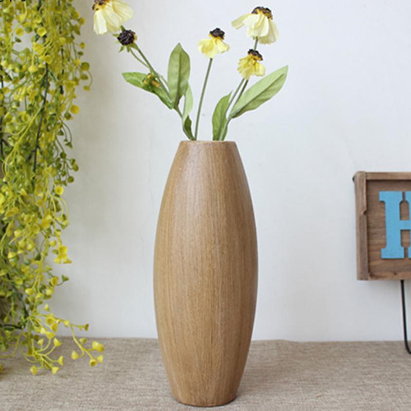 DHgate.com & Wooden vase flower arrangement living room European retro wood flower arrangement Bedroom coffee shop decorative vase