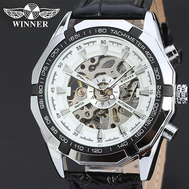 abe85a353bf Compre Mens Marca Auto Vento Esqueleto Automático Relógio Homens T Winner Mecânico  Relógios De Pulso Steampunk Poder Oco Relógio De Couro Genuíno De ...