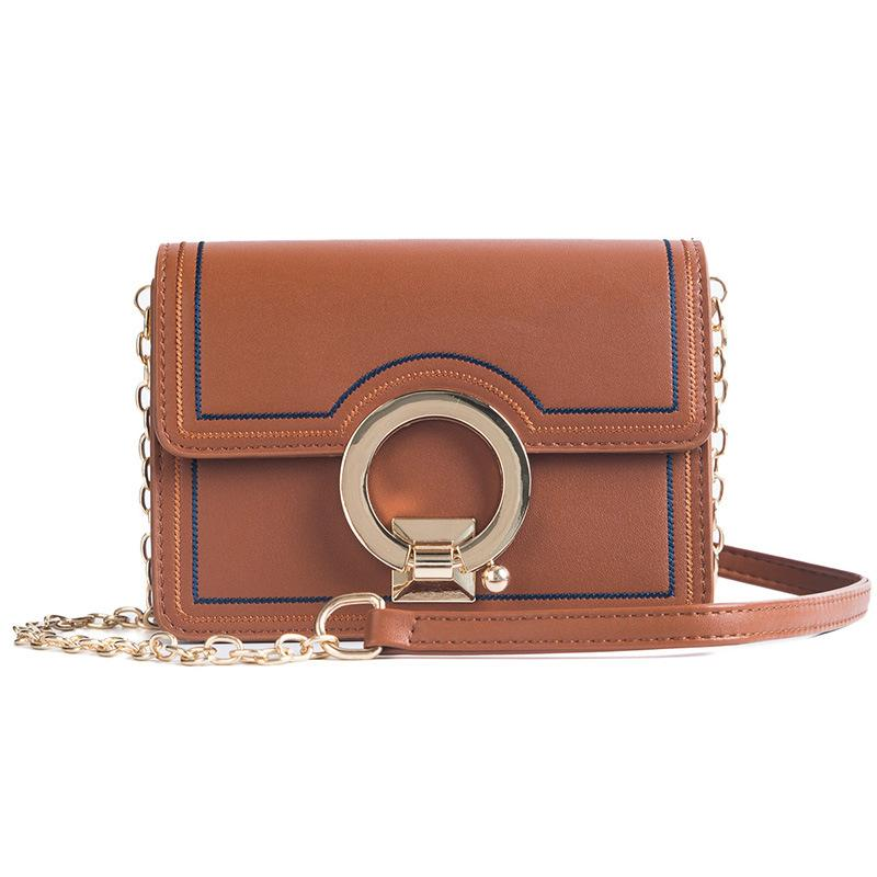 2018 new spring and summer explosion models stitching ladies shoulder diagonal small square bag Fashion chain messenger bag