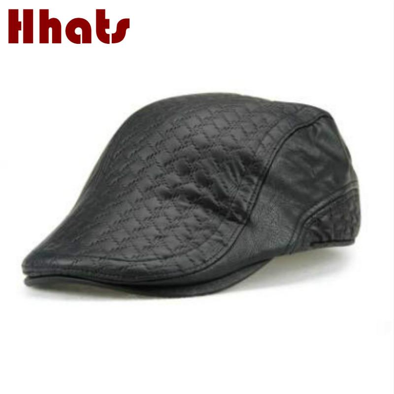 50adc08fccc 2019 Which In Shower High Quality Genuine Leather Berets For Old Men Solid  Winter Visor Blank Spring Autumn Vintage Male Flat Cap From Shanqingmou
