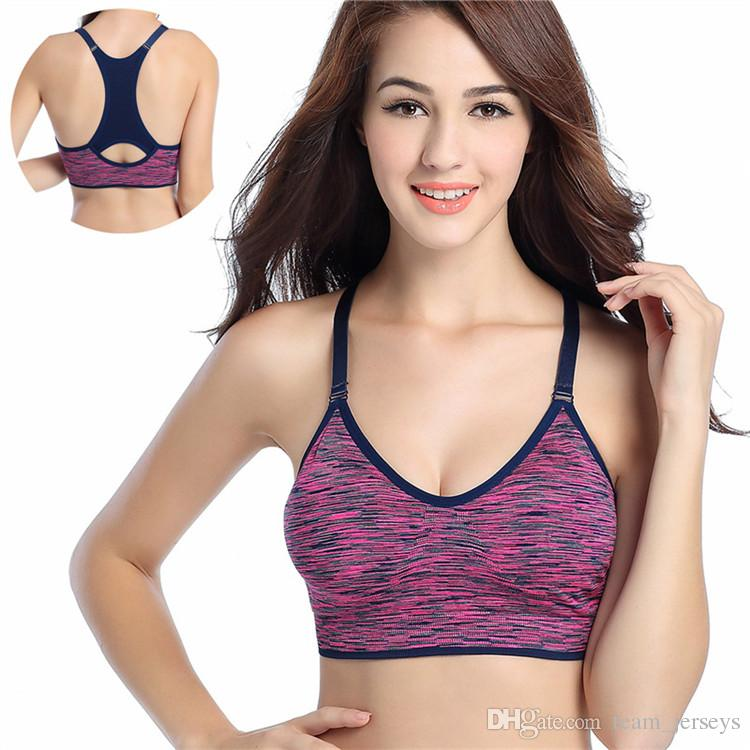 f79686da22 Women Fitness Yoga Sports Bra For Running Gym Adjustable Spaghetti Straps  Padded Push Up Seamless Tops Athletic Vest S M L Sexy Underwear UK 2019  From ...