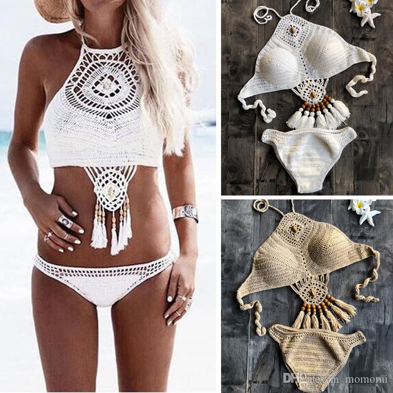 a9a801ee225 2019 Fashion Women Swimwear Crochet Bikini Set Halter High Neck Handmade  Beading Tassel Crop Top Swimsuit Sexy Biquini Bathing Suit From Momomi