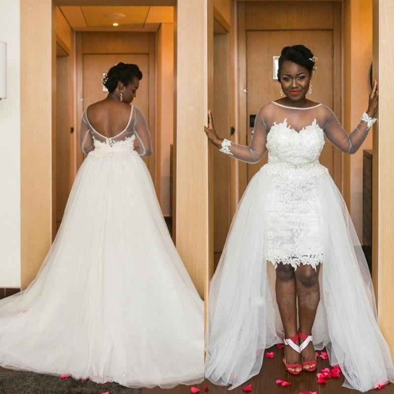 b77772398138 Discount Latest Long Sleeve Hi Low Black Girl Plus Size Wedding Dresses  Chapel Train Bridal Wedding Gowns Hochzeitskleid Robe De Mariee Budget  Wedding ...