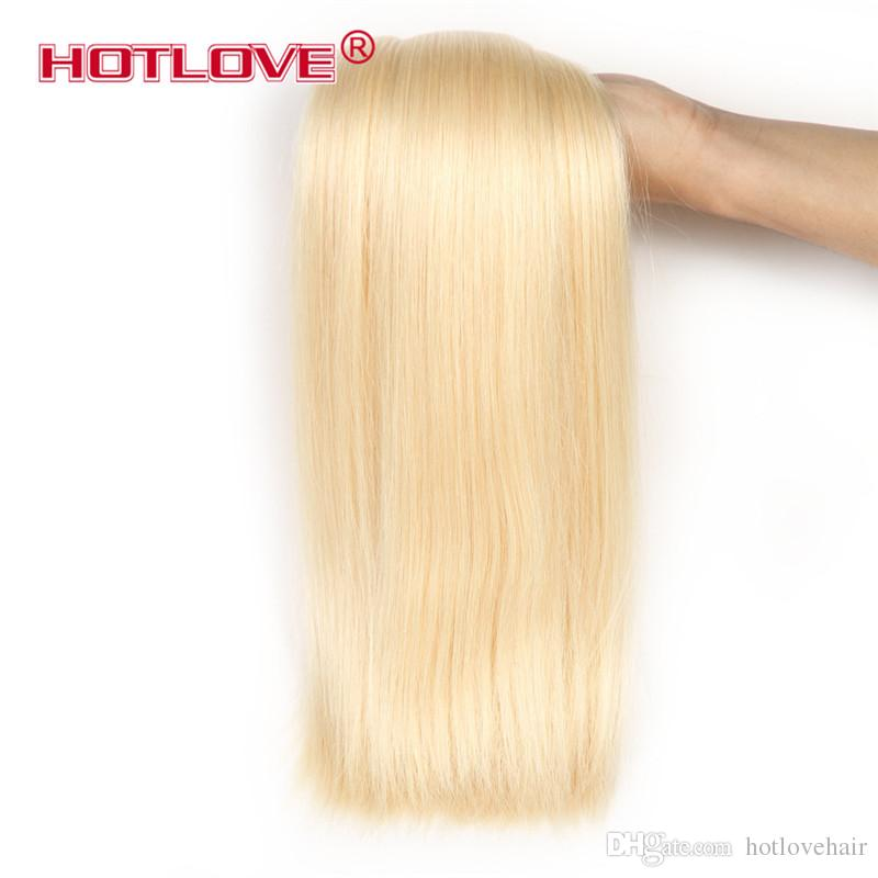 HOTLOVE Hair Company Estensioni dei capelli umani vergini brasiliane diritte 12 a 24 pollici 4 pezzi / lotto tessitura dei capelli di Remy 613 fascini biondi