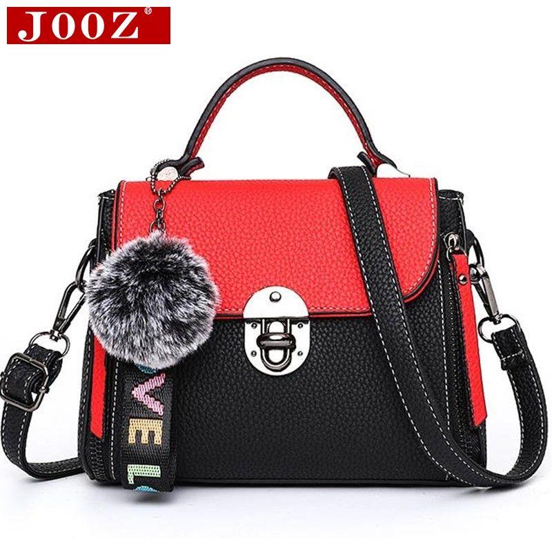 afcccb7871 JOOZ Hit Color Women S Handbags Leather Ladies Hand Bags 2018 New Women Bag  Shoulder Bag Bolsos Fur Toy Women Messenger Bags Shoulder Bags Handbags On  Sale ...