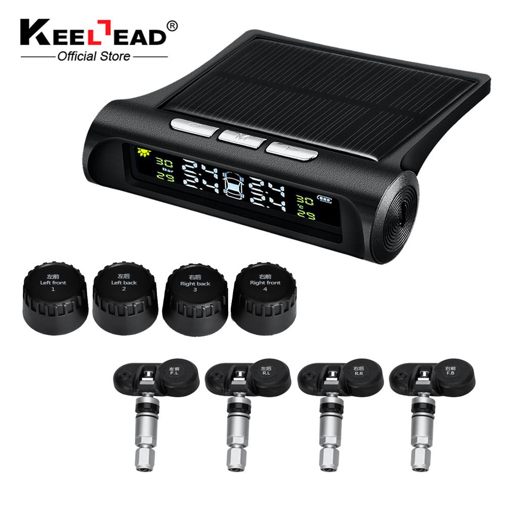 KEELEAD Smart Car TPMS Tyre Pressure Monitoring System Solar Power charging Digital LCD Display Auto Security Alarm Systems