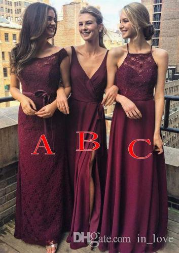 cbb4ec7c884 Wine Red Burgundy Long Bridesmaid Dress 2018 Lace Chiffon Floor Length  Evening Dresses Girls Formal Prom Party Gowns Custom Made Wholesale  Bridesmaid ...