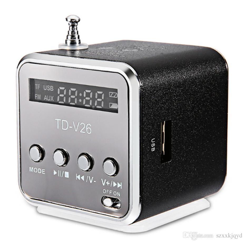 HENGYUE TD-V26 Mini Speaker Portable Digital LCD Sound Micro SD/TF FM Radio Music Stereo Loudspeaker for Laptop Mobile Phone MP3