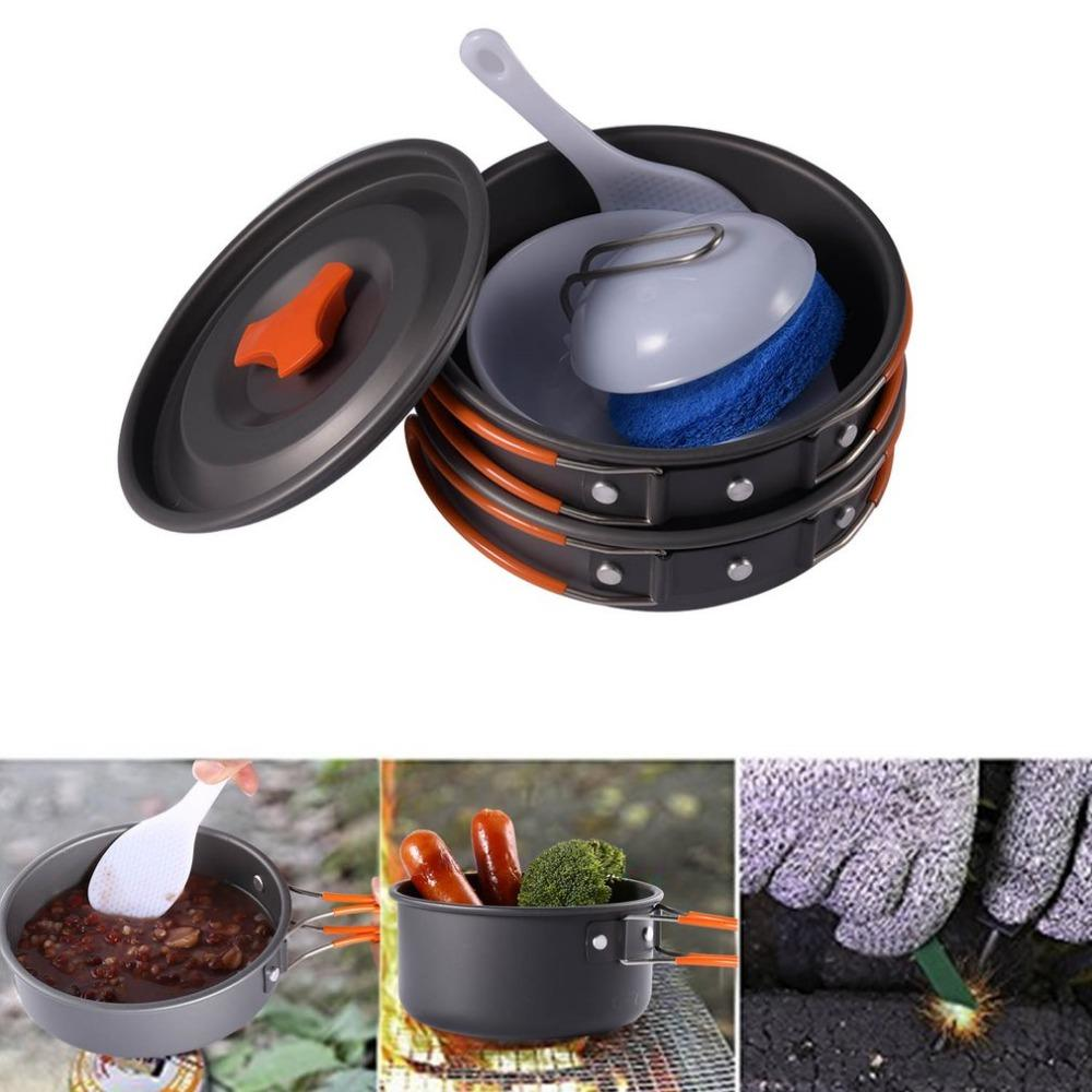 Kitchen Cookware 8pcs Outdoor Camping Hiking Cookware Backpacking Cooking Picnic Bowl Pot Pan Set Lightweight Portable Compact