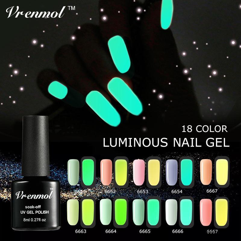 Acheter Vrenmol 8 Ml Brillant Fluorescent Neon Glow Dans La Lumière Sombre  Lumineux Gel Vernis À Ongles Art Polonais Esmalte Soak Off Long Vernis Gel