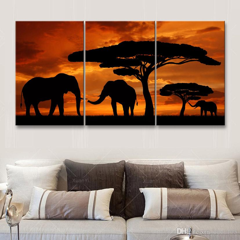 high-definition print African landscape canvas oil painting poster and wall art living room picture FZ3-001