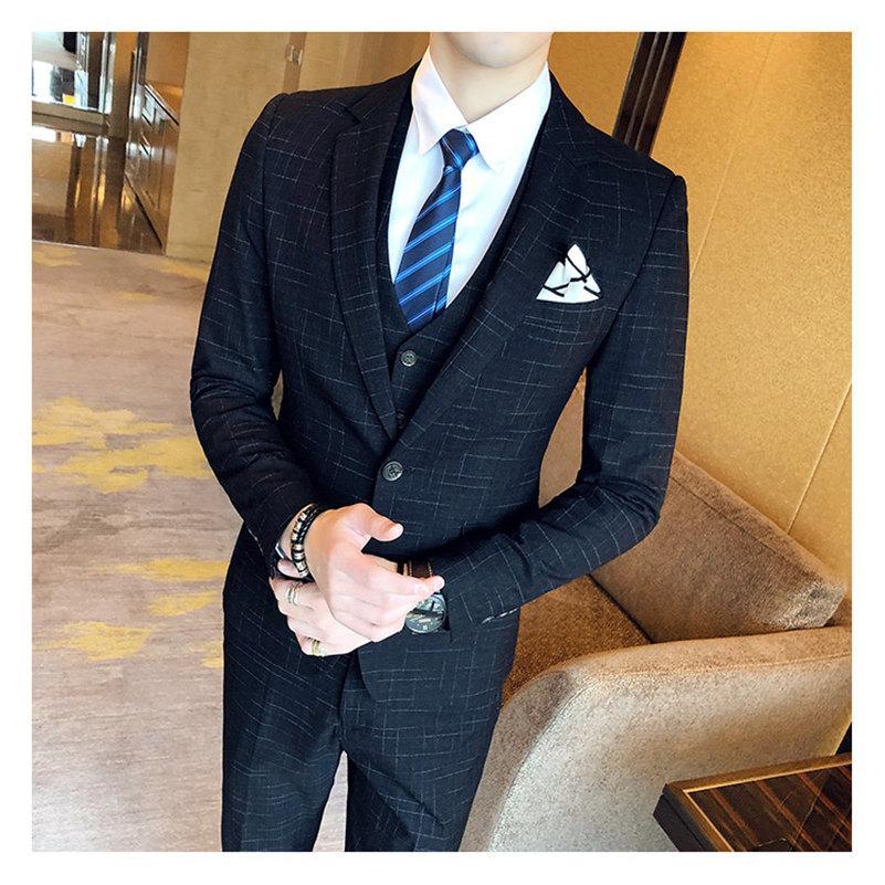 Acheter Ryanth Costume Homme 3 Pièce Slim Fit Hommes Costume Un Bouton Pour  La Partie De Bal De Mariage De  180.1 Du Fenghuangmu  316303b9447