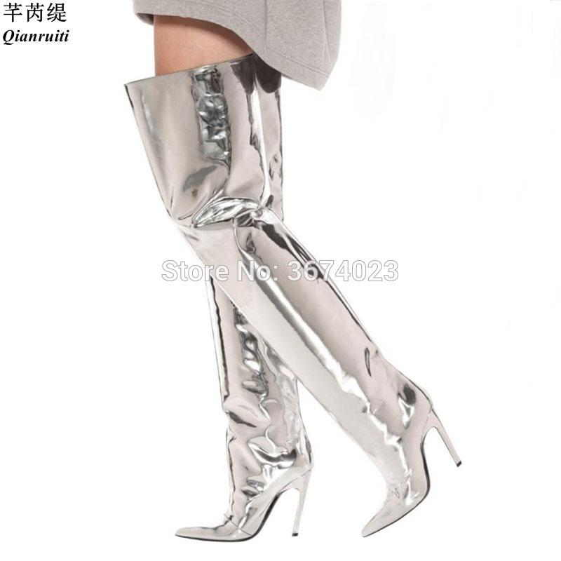 5514d2bf5ef382 Qianruiti Super Star Street Show Silver Mirror Leather Thigh High Boots Kim  Kardashian Shiny High Heel Stilettos Runway Overknee Monkey Boots Cheap  Football ...