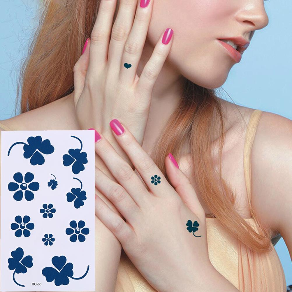 1pc Fake Women Men Diy Henna Body Art Tattoo Design Flower Decal Butterfly Tree Branch Vivid Temporary Tattoo Sticker