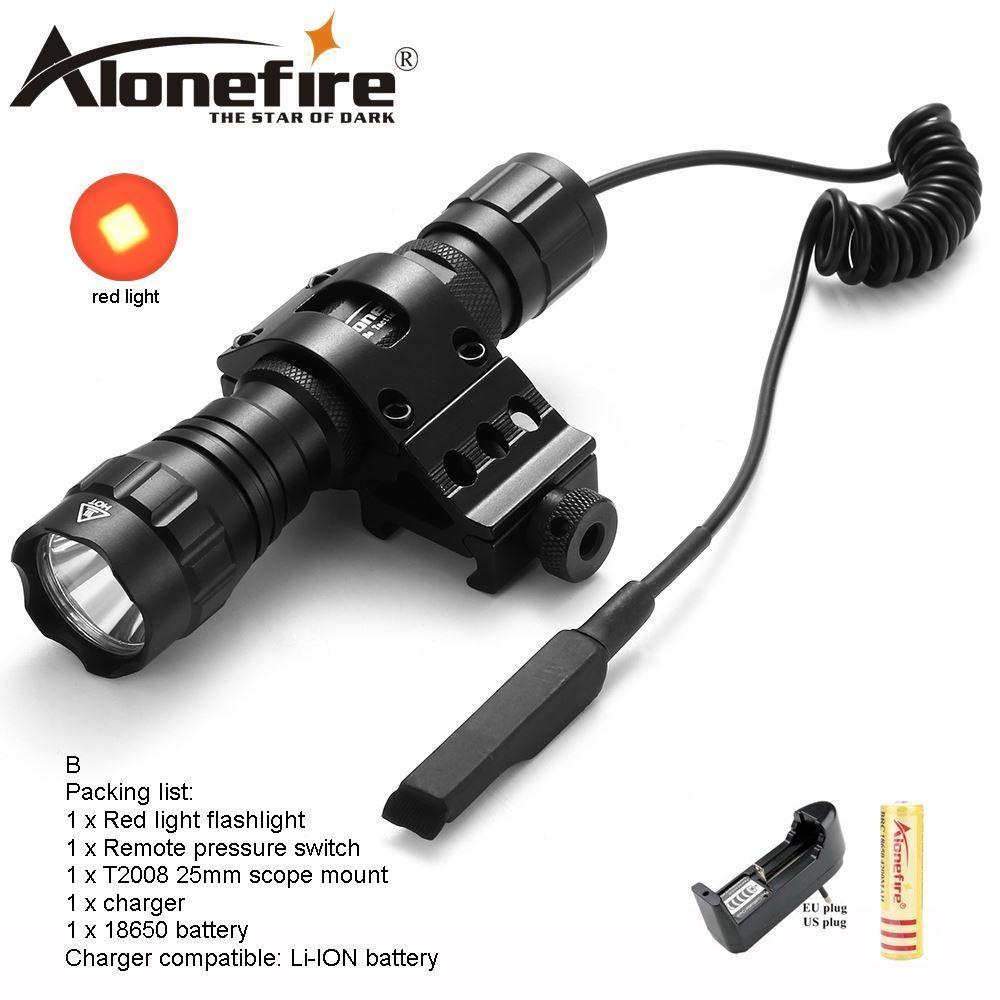 AloneFire CREE 501Bs Torcia torcia tattica Lampada da caccia Tactical Mount Remote Switch Luce rossa 1 batteria x18650