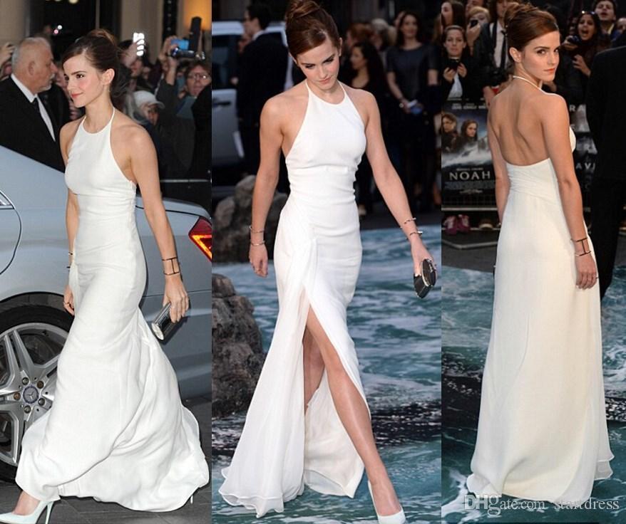 c58ad84f8a Emma Watson Celebrity Evening Dresses Simple Halter Floor Length Chiffon  Backless Prom Formal Gowns Side Split Red Carpet Dresses For Girls Long  Evening ...