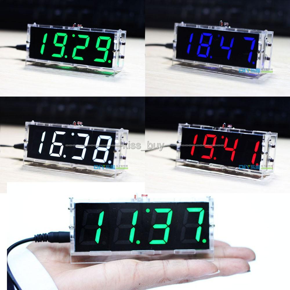 Freeshipping 4 Bits Digital Tube DIY kit LED electronic clock microcontroller BLUE LED digital clock time thermometer + case shell