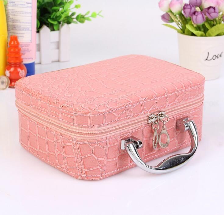 New Fashion women square multi-purpose storage bag stone pattern cosmetic bag leather cosmetic case Sweet female bag