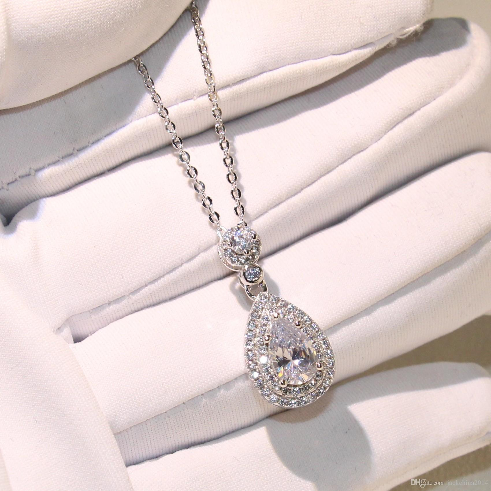 Top Selling Wholesale Professional Luxury Jewelry Water drop Necklace 925 Sterling Silver Pear Shape Topaz CZ Diamond Pendant For Women Gift