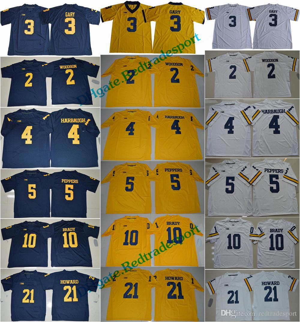 2018 Michigan Wolverines 3 Rashan Gary 21 Desmond Howard 10 Tom Brady 4 Jim  Harbaugh Charles Woodson Jabrill Peppers College Football Jersey UK 2019  From ... 7c2ffa9fd