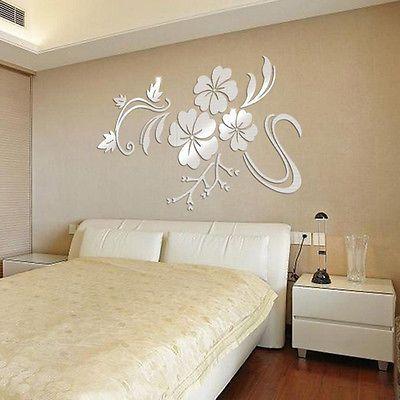 3D Çiçekler Asma Desen Ayna Akrilik Duvar Çıkartmaları Ev Dekorasyon DIY Altın Gümüş Oturma Odası Duvar Sticker Dekor