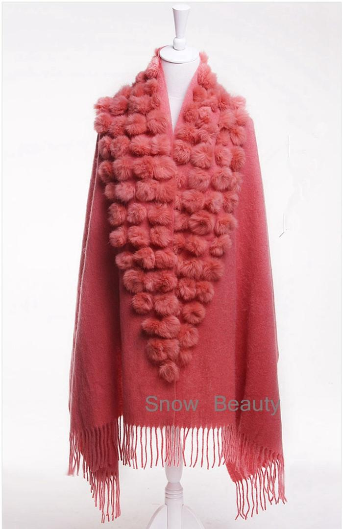 new female scarf shawl pashmina thick winter natural rabbit fur pompom ball cape female muffler christmas gift