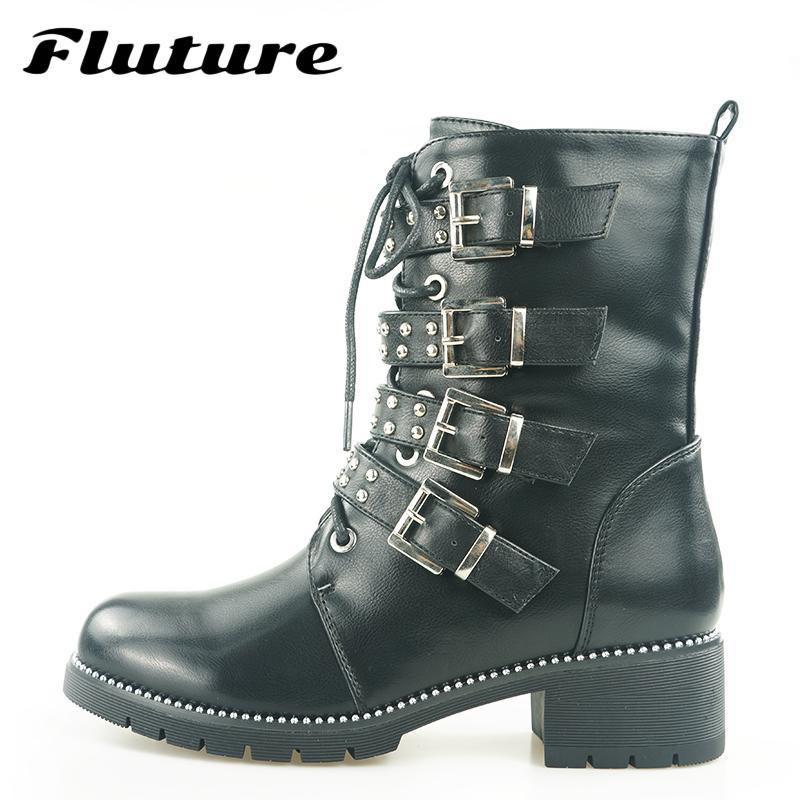 Fluture Winter Genuine Motorcycle Boots 2018 New Black Plush Women S