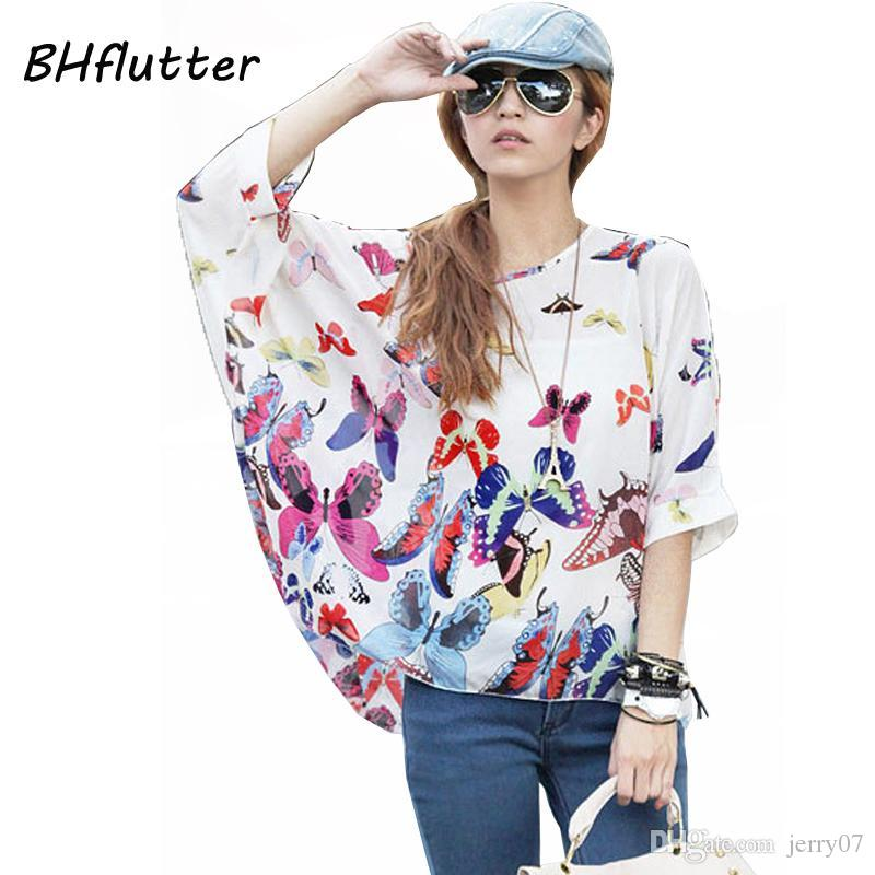 Blusas Summer Tops Plus Size Women Clothing 2018 New Style Batwing Sleeve Women  Blouses Floral Print Women S Chiffon Shirts Pretty Party Dresses Sundresses  ... e89e856cffc7