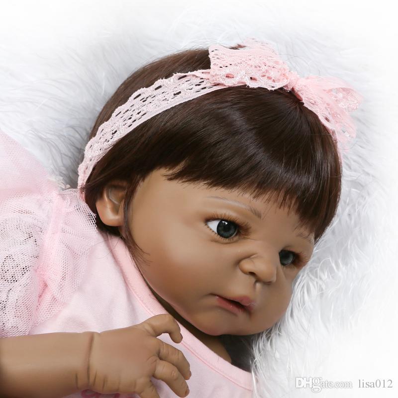 23 inch 57 cm Big Reborn Babies African American Baby Doll Black Girl Full Body Silicone Reborn Baby Doll Juguetes Brinquedos