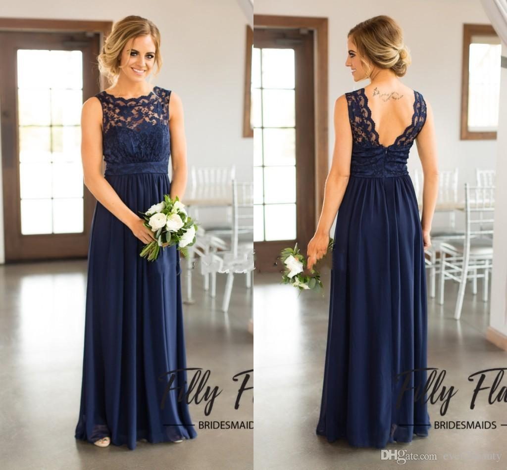2018 navy blue lace bridesmaid dresses for country wedding a line 2018 navy blue lace bridesmaid dresses for country wedding a line jewel long chiffon bohemian summer beach wedding party evening dresses bridesmaid dresses ombrellifo Images