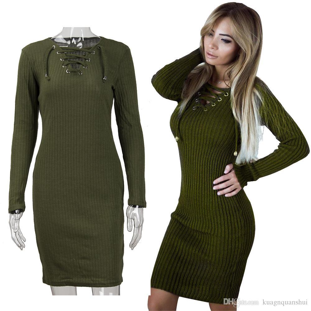 fc2f0d47839b5 Wholesale 2018 Spring And Autumn Sexy Slim Women Dress V Neck Cross Belt  Dress Long Sleeve Hip Dress For Lady Hot Sale One Shoulder Dress Party  Dresses ...