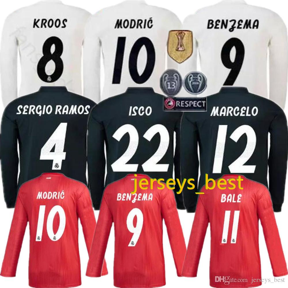 new style 1f9a7 55c53 18 19 Real madrid Long sleeve Soccer Jersey Benzema MODRIC LUCAS MORATA  BALE KROOS ISCO Home Away 2018 2019 Football uniform
