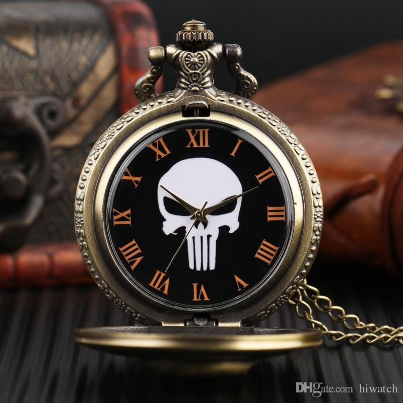 Presentes especiais para Homens Mulheres Crianças Crianças Pal Colares Evil Crânio Cabeça De Quartzo Relógio de Bolso Pingente Legal com Corrente