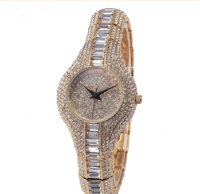 Women Luxury Diamond Watch Fashion Table Fountain Decorative Classic noble Christmas gift quartz gold Full diamond strap Ladies watch