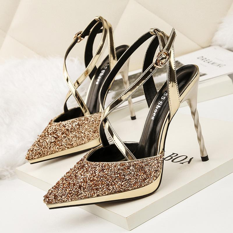 790aed2ff5317 Brand designer women wedding shoes sexy sequins pointed toe cross strap  sling-on platform high heels gold sandals 7219-5