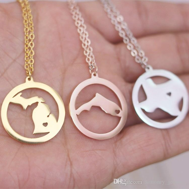 New York Map Pendant Necklace with Love Heart Stainless Steel USA State NY Geography Map Necklaces Jewelry for Women and Men