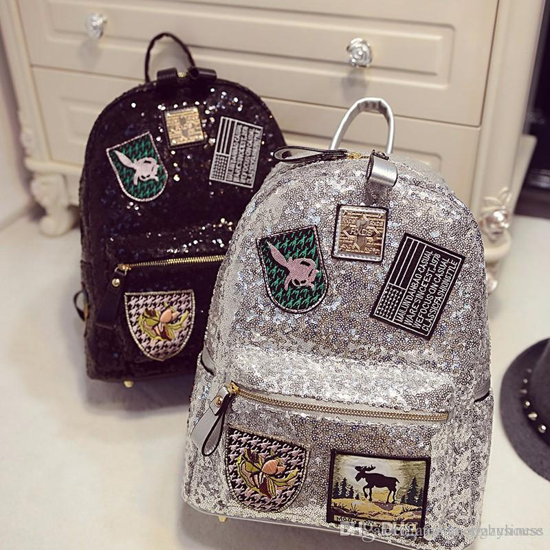 f5930977678d 2017 New Fashion Women Backpack Big Crown Embroidered Sequins Backpack  Wholesale Women Leather Backpack School Bags 17915008 Pu Backpack Sequins  Backpack ...