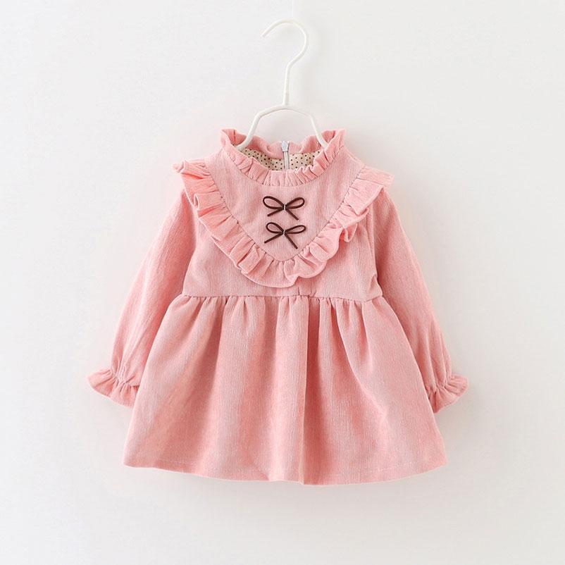 Xunqicls Autunno Primavera Principessa Neonate Dress Bambini a maniche lunghe V-a forma di Top Abiti in velluto a coste bambina