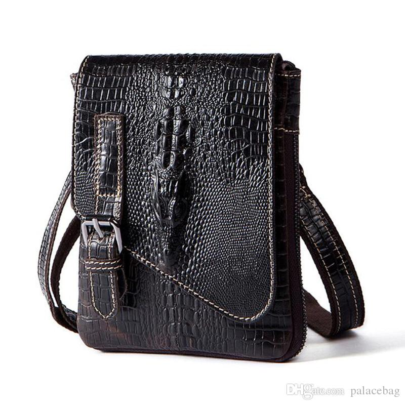 b41b8ce1532 Genuine Leather Briefcases For Business Man Fashion Crocodile Pattern  Shoulder Bags Men's Portable Bags Brown Cross Body Bags
