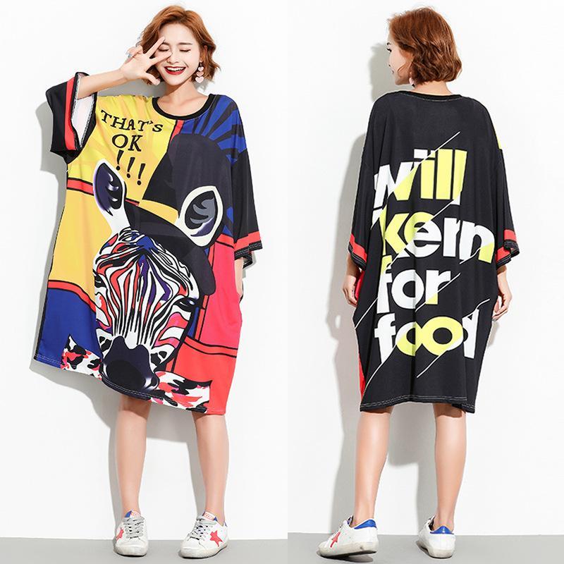 Womens O Neck 34 Sleeve Very Plus Size Cartoon Print Dresses Loose