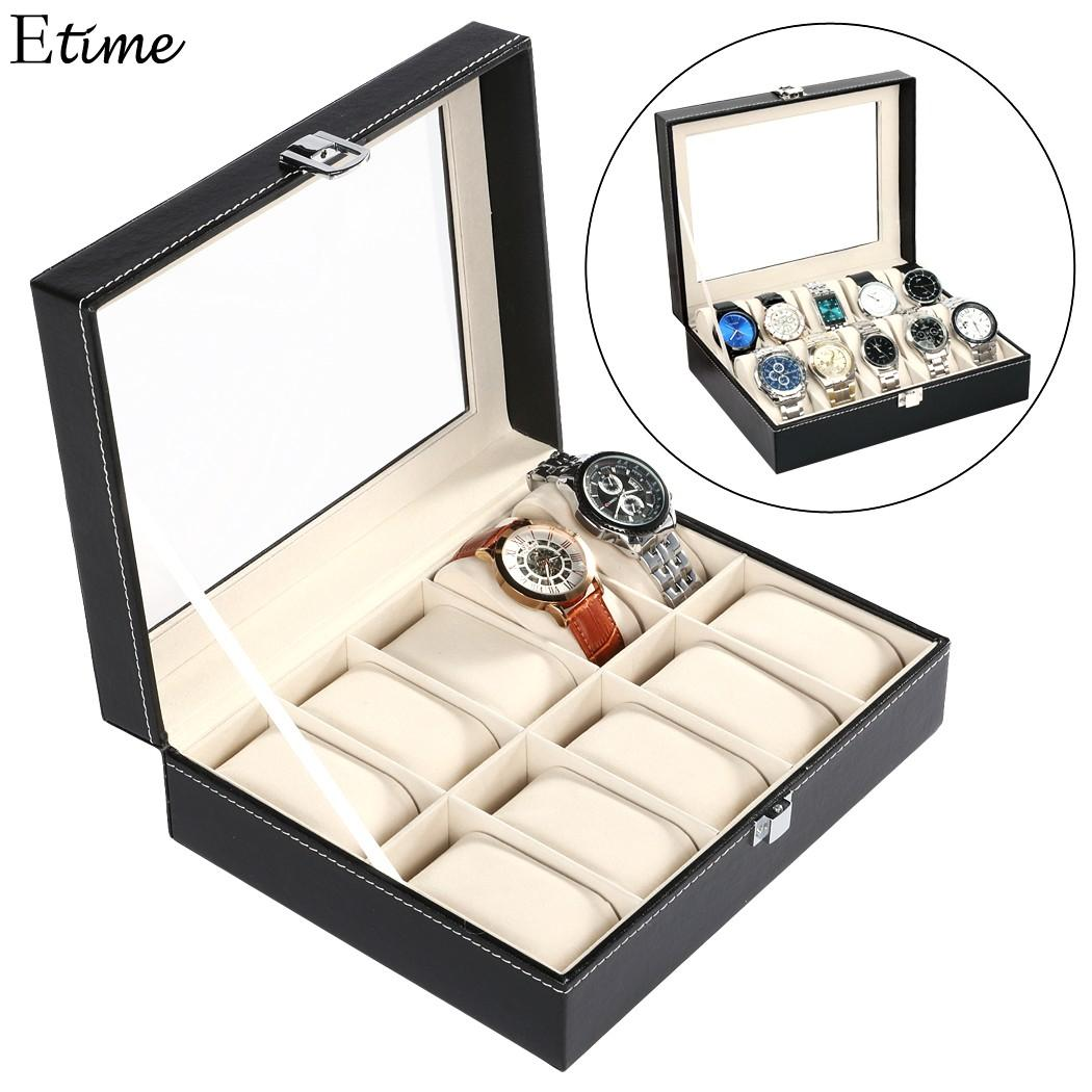 FANALA Black Watch Box PU Leather 10 Grid Watch Winder Display Box  Organizer Case For Women Wrist Jewelry Storage Holder Storage Watch Box Best  Watch ... 02238a996e