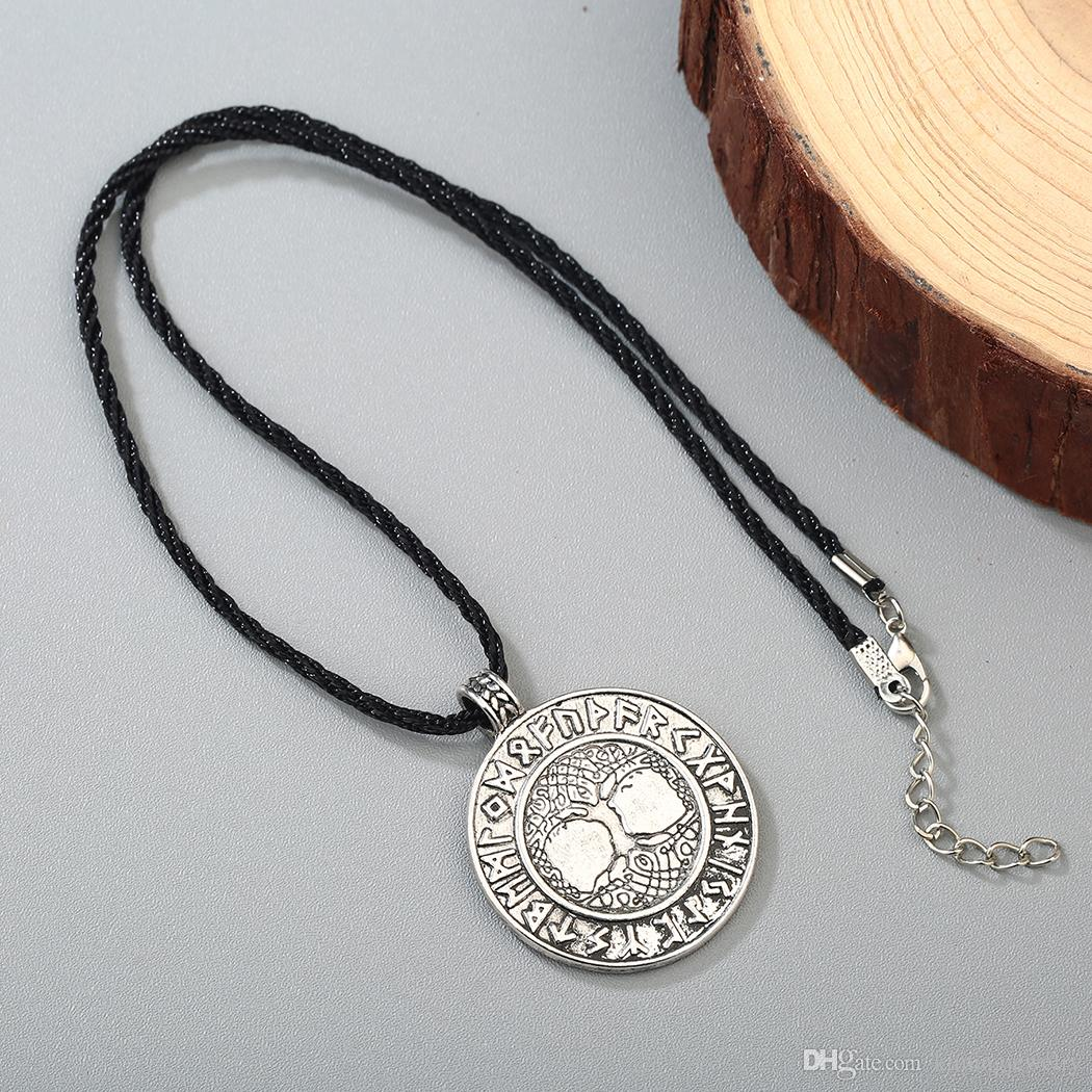 The Tree of Life Runes Pendant Necklace Nordic Talisman Colier For Male Man Unisex Rerto Old Jewelry Metal Round Amulet