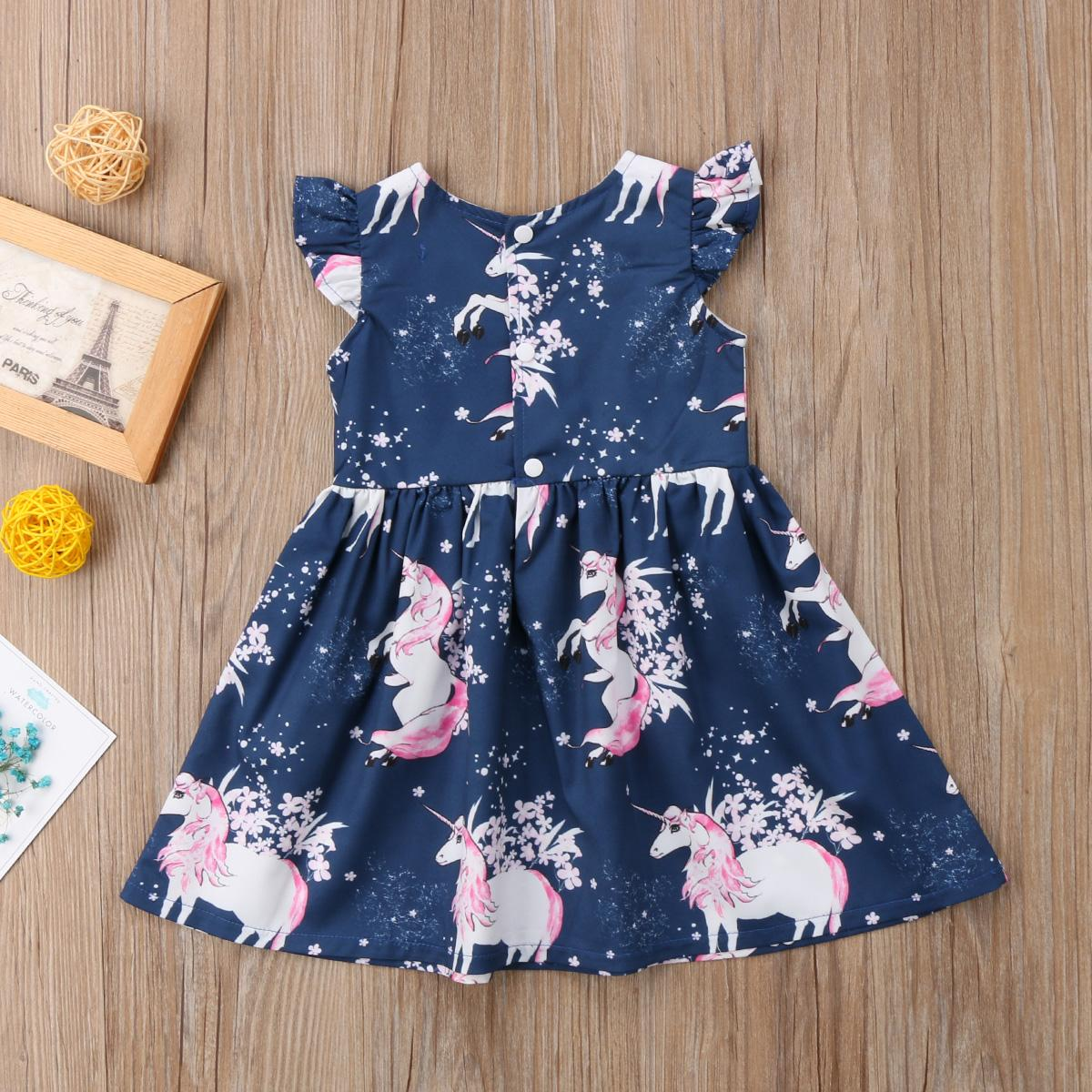 Toddler Baby Girls Dress Round Neck Floral Outfits Unicorn Summer Sleeveless Blue Dresses Girl Clothing Cute Kid 1-6 Years