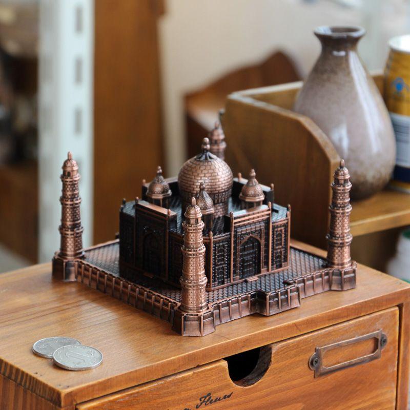 . Home Decoration Ornaments Living Room India Taj Mahal Architectural Model  Decoration Figurines Modern Simple Metal Crafts