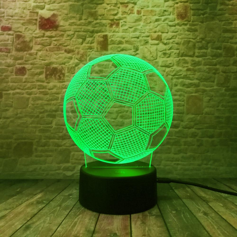 Circle Sport Soccer Football 3D Optical Illusion Lamp Change Touch Button and 15 Keys Remote Control LED Table Desk for world cup