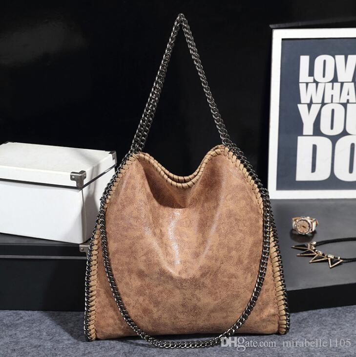 3e058748ff 2019 New Fashion Pu Leather Plain Stella Handbag Polyester Chains With  Chain Portable Shoulder Bag Bolsas Feminina Lady Tote Bags Fashion Bags  Designer ...