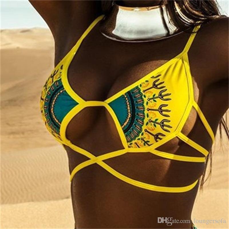Woman Swimsuit Swimwear Lady Bikini Femme Digital Printing Divided Body Adult Terylene Two Piece Suits High Waist Elasticity 25jy V