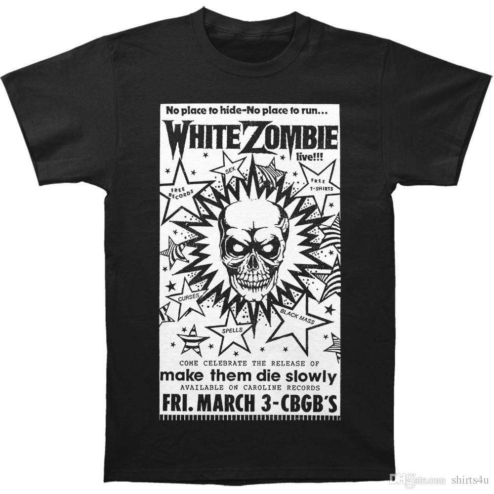 Custom Printed T Shirts Short White Zombie Mens Cbgb Poster T Shirt