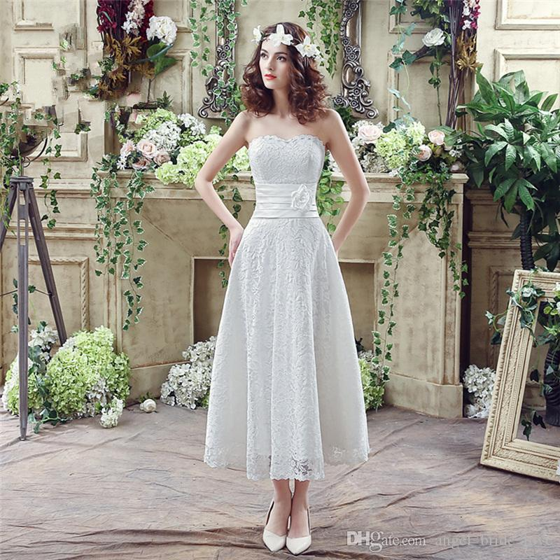 2018 New Fashion Lace Flower A-Line Wedding Dresses With Appliques ... f3428ffe676a