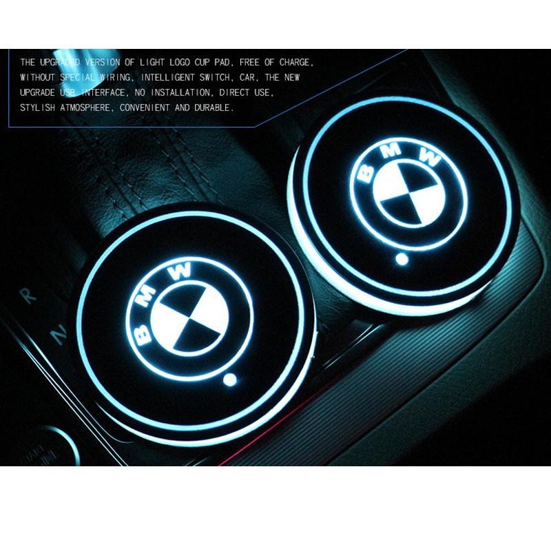Car Styling BMW logo Badge Car Led Shiny Water Cup Mat Luminous Coaster Atmosphere Light